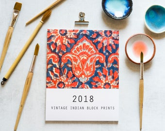 2018 CALENDAR, Boho Calendar, Vintage Indian Block Prints, 2018 Desk Calendar, Printed Calendar, Boho Decor, Ethnic Fabric Prints