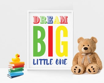 Dream Big 8.5x11 Primary Colors Instant Download Print