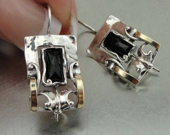 Sterling Silver 925 and 9K Yellow Gold earrings , Handcrafted square earrings,onix stone earrings,gift , christmas (ms 353e)