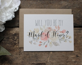 Watercolor Floral Will you be my Maid of Honor, Matron of Honor Card, Wedding Party - 1 card