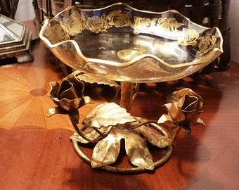 Gold Italy Toleware and Glass Dish