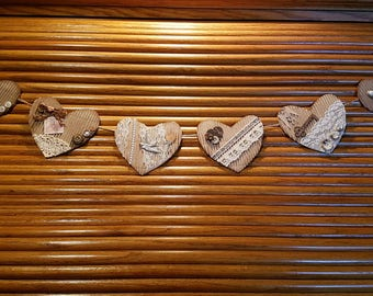 Shabby Chic Heart Garland - Handmade - corrugate card, distress ink, metal clips, vintage images, lace, buttons, pearls