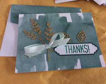 Thanks greetings card handmade greeting card  green and white  card with large gold sparkling leaves and matching green with white bow