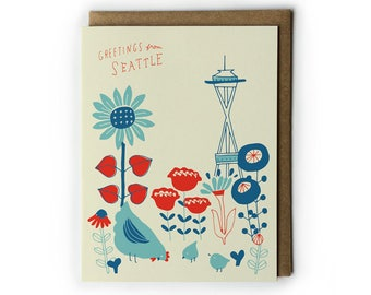 Seattle Greeting Card, Seattle Space Needle, Vintage Flower Postcard, Unique Seattle Gift, Cute Flower Drawing, Folded Notecard, 4.25x5.5