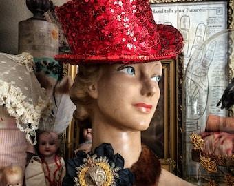 Go Big Go Bold Go Red Vintage Sequin Costume Top Hat