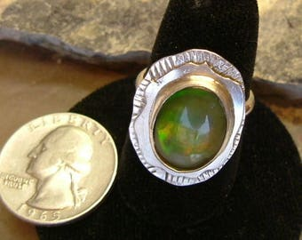 Bright Green to Orange Fire Gem Ammolite Found in Utah Deposit, .925 Sterling Silver Fine Jewelry Size 8 1/2 679