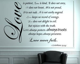 SALE! BLACK Love is Patient Love is Kind wall decal, 1 Corinthians, Bible Verse Wall Decals, Small, 1 Corinthians 13, religious wall decal