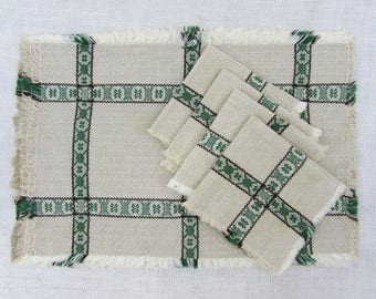 Scandinavian placemats & napkins - set of 4 - natural linen w/ green pattern - 1980s
