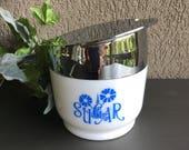 Gemco Cornflower Blue Sugar Pourer Pot Milk Glass Bowl White Vintage Matchables Serving Ware ~ #A2461