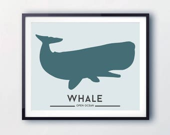 Whale print, marine animal art, kids room decor, art for children, marine prints, sperm whale