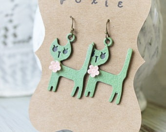 Green Cat Earrings - Cat Lady Gift - Cat Jewelry - Cat Accessories - Kitten Earrings - Kitten Jewelry - Whimsical Jewelry - Vintage Inspired