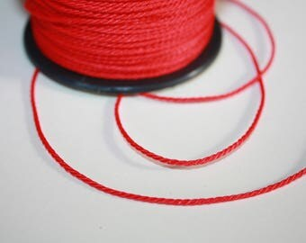1.5 mm TWISTED RED Cord = 1 Spool = 55 Yards = 50 Meters of Elegant Polypropylene Rope for Macrame, Sewing, Crocheting, Knitting