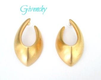 Givenchy Brushed Gold Pierced Earrings 1980s Statement Designer Jewelry