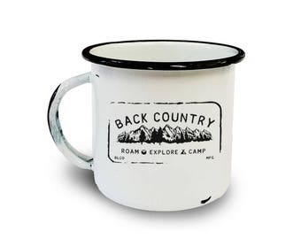 Retro Camper Mug - Back Country - Enamel/Metal Camping Mug - Backpacking Mug