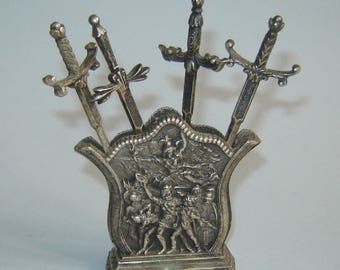 French Vintage Old Silver Plated 4 Cocktail Hors d'Oeuvres Picks Swords Holder