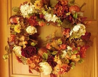 Fall Wreath, Wreath , Thanksgiving Wreath , Door Wreath , Autumn Wreath , Front Door Wreath