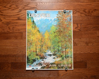 vintage 60s Delta Air Lines poster Denver Rocky Mountains Jack Laycox painting artwork 1960 travel poster 28x22 Denver poster 0432-01504