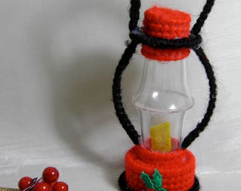 Handmade Vintage Lantern Ornament Tree Decoration - Red, Black, Yellow