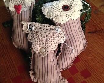 Set of 3 Primitive Homespun Stockings Christmas Tree Ornaments Bowl Fillers Handmade