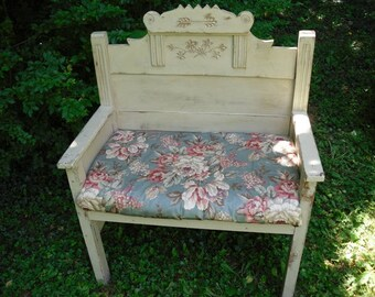 Shabby Chic Bench with Upholstered Seat Painted Furniture Porch Furniture