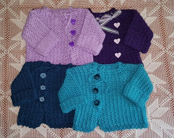 9-12 Month Crochet Baby Sweater with Matching Tam Hat--Choice of 4 Colors
