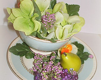 Tea Cup Flower Arrangement Hand Crafted Secured in Homer Laughlin Georgian Pattern China TeaCup Hydrangeas Lilacs Gift for Her Woman Gift