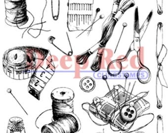 Deep Red Cling Rubber Stamp Rubber Stamp Sewing Notions Collage