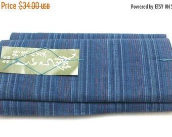 20% SALE Shigura Aizome. Japanese Kasuri Ikat Cotton. Indigo Blue and Red Stripe. Traditional kimono Bolt of Fabric (Ref: 1715)