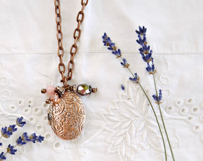 Oval antique copper photo locket with pink and green glass charms, oval brass locket necklace with czech glass bead charms, victorian locket