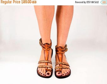 ON SALE Handcrafted Men Women Gladiator Sandals, Leather Sandals With Pattern Toe Ring Ankle Strap, Large Size Sandals - FASCINATION