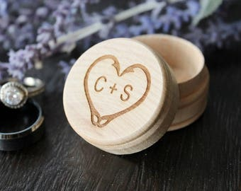 Fish Hook Heart Ring Box with Initials Rustic Wood Ring Box Keepsake Ring Box Outdoors Wedding