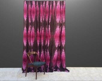 Vintage  Mid Century Hollywood Regency Bohemian Drapery Drapes Curtains 1950s 50s 1960s 60s