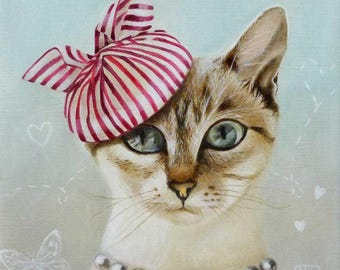 Cat painting, cat decor, animal painting, cat pictures,cat , animals in clothes, Girl with pearls, cat illustration, cat gifts cute girl art