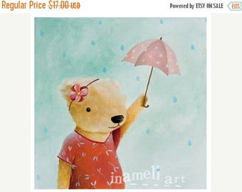 On Sale Kids room art -Teddy bear Art Umbrella - cute animal art kids wall art kids wall print girls room decor gift for mom cute room wall