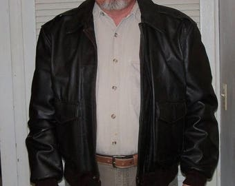 Vintage Aviator Bomber Jacket Brown Leather Size L 1980s Replica from Sheepskin and Leather Coat Co