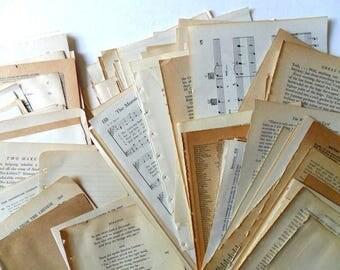 80 vintage book pages   vintage paper   paper ephemera   book pages for collage   paper supplies   junk journal supplies   vintage paper