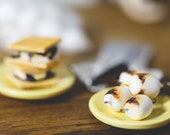 SALE! Playscale Miniature S'Mores Roasted Marshmallows and Chocolate Bar for One Sixth Scale Camping