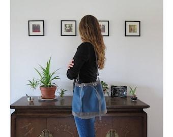 Bucket Bag - Blue & Gray - Crossbody - Shoulder Bag, Handmade