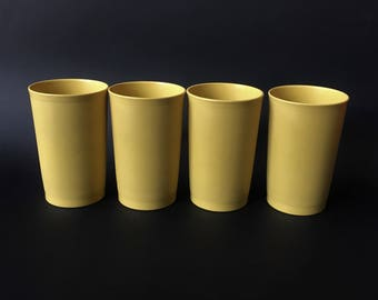 Vintage 70s 80s Set of 4 Tall Olive/Pistachio Tuperware Beakers