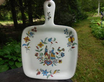 Vintage 1950s Iva-lure Dutch Motif Square Dish Serving Handle Colorful Folk Art Made in USA Crooksville Retro Wall Hanging Country Kitchen