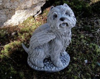 Westie Angel Statue White West Highland Terrier Cement
