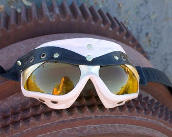 Leather goggles. Handcrafted, light pink with gold hints