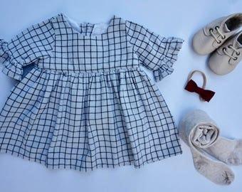 The Belle Dress, Flutter sleeve Dress, Baby Cotton Dress, Infant Dress.