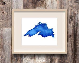 North Shore, Lake Superior Print, Lake Superior Map, Lake Superior Art, Great Lakes art, Lake Superior Painting, Great Lakes Gift, Big Lake
