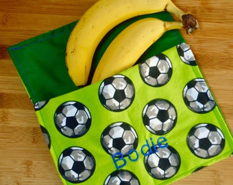 Reusable Personalized Snack Bag | Green Soccer