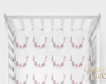 Watercolor Floral Antlers Woodland Whisper - Boppy Cover + Changing Pad Cover + Crib Sheet + Rail Cover + Crib Skirt or Blanket