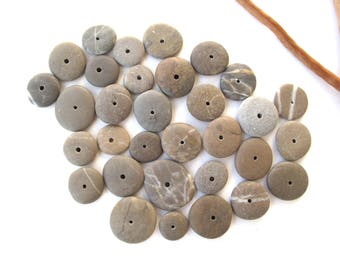 Stone Rock Donut Beads Drilled Stone Spacers Mediterranean Natural Stone Beads Diy Jewelry Pairs SMALL KHAKI WHEELS 13-20 mm