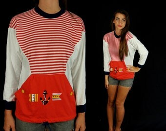 vtg 80s NAUTICAL Kangaroo Pocket SAILOR TOP Small/Medium striped retro indie hipster red white blue anchor batwing shirt