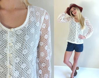 vtg 70s white CROCHET LACE Victorian BLOUSE Small hippie boho festival shirt top sheer romantic