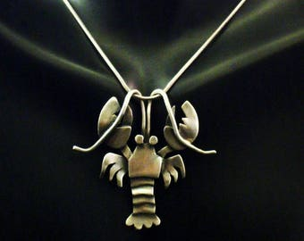 Sterling Silver Lobster Necklace - Pinchy